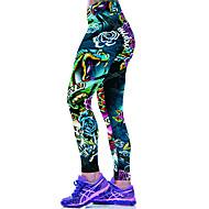 Dámské Polyester Spandex Střední Sportovní Tištěné Legging Zelená