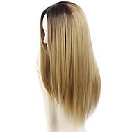halpa -Naisten Synteettiset peruukit Pitkä Suora Beige Vaaleahiuksisuus Liukuvärjätyt hiukset Tummat juuret Keskijakaus Luonnollinen peruukki