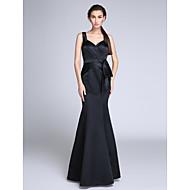 Sereia Longo Cetim Evento Formal Vestido com Drapeado Lateral de TS Couture®