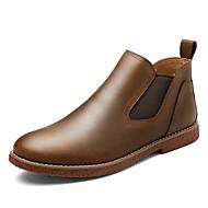 お買い得  メンズブーツ-男性用 靴 レザー 春 秋 コンフォートシューズ ブーツ ミドルブーツ ゴア のために カジュアル オフィス&キャリア ブラック Brown ブルー