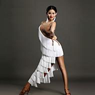 Latino ples Haljine Žene Seksi blagdanski kostimi Spandex Kristali / Rhinestones S resicama Bez rukávů Prirodno Haljina