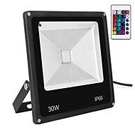 baratos Focos-1pç 30 W Focos de LED Impermeável / Controlado remotamente / Regulável RGB 85-265 V Iluminação Externa / Pátio / Jardim