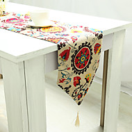 rectangular floral patterned embroidered table runner linen cotton blend material hotel dining table table