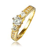 Dame Kvadratisk Zirconium Cluster Ring - 18K Guldbelagt, Guldbelagt 6 / 7 / 8 Guld Til Bryllup / Fest / Daglig
