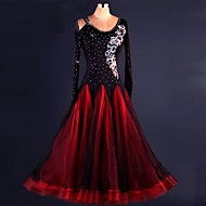 cheap Dancewear & Dance Shoes-Ballroom Dance Dresses Performance Spandex Organza Draping Lace Crystals/Rhinestones Long Sleeves High Dress