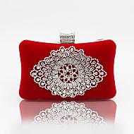 baratos Clutches & Bolsas de Noite-Mulheres Bolsas Veludo Bolsa de Festa Cristal / Strass Sólido Preto / Vermelho