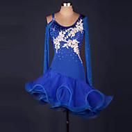 Latino ples Haljine Žene Seksi blagdanski kostimi Spandex Organza Kristali / Rhinestones Isprepleteni dijelovi Cvijet S volanima Dugih