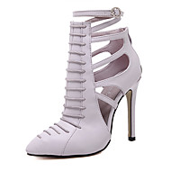 cheap Clearance-Women's Shoes Leatherette Summer Ankle Strap Heels Stiletto Heel Pointed Toe Zipper Black / Light Purple / Dress