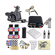 Starter Tattoo Kits-Tattoo Machine Starter Kit 1 cast iron machine liner & shader Mini power supply 1 x alloy grip 10 pcs Tattoo Needles