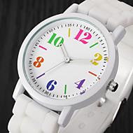 여성용 캐쥬얼 시계 패션 시계 손목 시계 석영 실리콘 블랙 / 화이트 / 블루 멋진 컬러풀 아날로그 숙녀 빈티지 캐쥬얼 - 핑크 블랙 / 화이트 밝은 블루