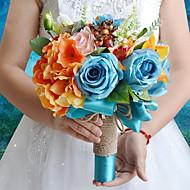 ウェディングブーケ ラウンド型 バラ ボタン ブーケ 結婚式 パーティー ・夜 ポリエステル サテン タフタ スパンデックス ドライフラワー 9.84inch(約25cm)