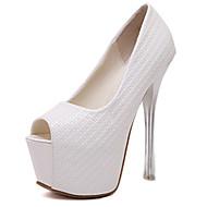 お買い得  レディースハイヒール-女性用 靴 PUレザー 夏 サンダル スティレットヒール オープントゥ ホワイト / ブラック / ピンク