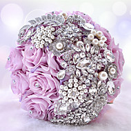 "Wedding Flowers Round Roses Bouquets Wedding Party/ Evening Polyester Satin Taffeta Lace Spandex Rhinestone 9.84""(Approx.25cm)"