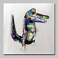 billiga Djurporträttmålningar-handmålade modern abstrakt krokodil djur oljemålning på kanfas väggkonst bild redo att hänga