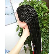 Vrouw Pruik Lace Front Synthetisch Haar Lang Recht  Zwart Natuurlijke haarlijn Gevlochten pruik Afrikaanse vlechten Afro-Amerikaanse pruik