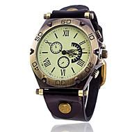 Homens Bracele Relógio Relógio de Moda Relógio de Pulso Quartzo Punk Couro Banda Vintage Casual Legal Rígida Preta Branco Azul Vermelho