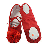 billige Ballettsko-Ballettsko Lerret Flate Satengblomst Flat hæl Kan ikke spesialtilpasses Dansesko Svart / Rød / Rosa / Trening