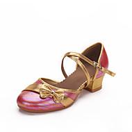 billige Kustomiserte dansesko-Moderne sko Lær Høye hæler Sløyfe Lav hæl Kan spesialtilpasses Dansesko Hvit / Fuksia / Rosa / Innendørs / Ytelse