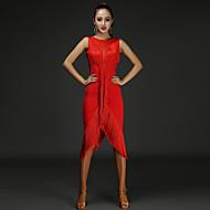 Χαμηλού Κόστους -Λάτιν Χοροί Φορέματα Γυναικεία Επίδοση Βαμβάκι / Chinlon Φούντα / Κόψιμο Αμάνικο Φυσικό Φόρεμα