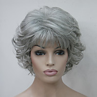 Women Synthetic Wig Short Curly Grey Side Part With Bangs Natural Wigs Halloween Wig Carnival Wig Costume Wig