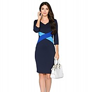 Žene Jednostavno Rad / Plus veličine Bodycon Haljina,Color block / Kolaž ¾ rukava V izrez Do koljena Plava / Bež / CrnaPamuk / Poliester