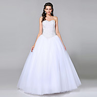 cheap Ball Gown Wedding Dresses-Ball Gown Sweetheart Floor Length Tulle Custom Wedding Dresses with Beading by LAN TING BRIDE®