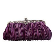 cheap Wedding Bags-Women's Bags Satin Evening Bag Ruffles for Wedding Red / Gray / Amethyst