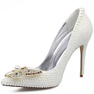 ieftine Pantofi Nuntă Înalți-Pentru femei Pantofi Piele Primăvară / Vară Confortabili Tocuri Plimbare Toc Stilat Vârf ascuțit Cristal / Funde / Perle Alb / Nuntă