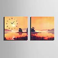 E-HOME® Dusk Lake Scenery Clock in Canvas 2pcs