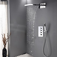 Contemporary Shower System Waterfall Rain Shower Handshower Included Ceramic Valve Four Handles Three Holes Chrome , Shower Faucet