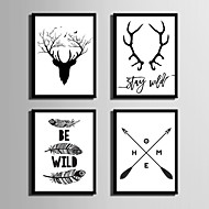 E-HOME® Framed Canvas Art Deer And Feather Theme Series  Framed Canvas Print One Pcs
