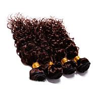 """4adet çok 300g 12 """"-30"""" brazilian derin kıvırma bakire saç atkıları koyu kahverengi insan saçı örgü"""