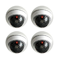 KingNEO 2pcs White Wireless Fake Dummy Dome CCTV Security Camera with Flashing Red LED light for House or Office Mall
