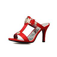 Pentru femei Pantofi PU Vară Confortabili / Pantof cu Berete Papuci & Flip-flops Plimbare Toc Stilat Vârf deschis Bej / Gri / Rosu
