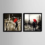 Ihmiset / Arkkitehtuuri Kehystetty kanvaasi / Kehystetty setti Wall Art,PVC Maalattu Ei taustalevyä Frame Wall Art