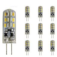 billige Bi-pin lamper med LED-10pcs 1.5W 300lm G4 LED-lamper med G-sokkel Tube 24 LED perler SMD 3014 Mulighet for demping Dekorativ Grønn Blå Rød 12V