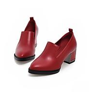 baratos Liquidação de Sapatos-Feminino-Saltos-Conforto-Salto Grosso-Preto Vermelho Azul-Couro Ecológico-Escritório & Trabalho Casual