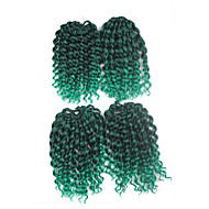 Jerry Curl Pre-loop Crochet Braids Black With Green Hair Braids 9Inch Kanekalon 1 Package For Full Head 170g Hair Extensions