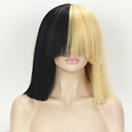 Sia Styling Fashion Celebrity Wig Golden Mixed Black Short Kinky Straight Hair Classic Cap Heat Resistant Synthetic Cosplay Wigs