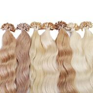 uが融合人間の髪の毛の拡張子を傾けるneitsi 20 '' 25グラム/ロットカラフル事前接合ネイル