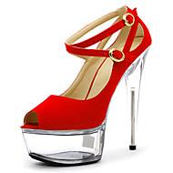 cheap -Women's Heels Spring Summer Fall Platform Fleece Wedding Dress Party & Evening Stiletto Heel Platform Crystal Heel Black Blue Red Clear