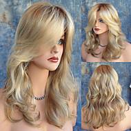Syntetiske parykker Naturligt, bølget hår Blond Med bangs / pandehår Syntetisk hår Varme resistent / Mørke hårrødder / Side del Blond Paryk Dame Lang Lågløs