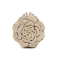 Women Bags All Seasons Metal Evening Bag Crystal/ Rhinestone Flower for Wedding Event/Party Formal Golden