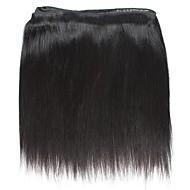 人毛 インディアンヘア 人間の髪編む ストレート 前後なし ヘアエクステンション 4個 ブラック