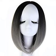 Perruque Synthétique Droit Style Sans bonnet Perruque Gris Gris noir Cheveux Synthétiques Gris Perruque Perruque Naturelle