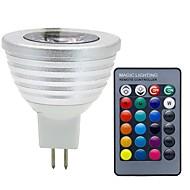 billige Spotlys med LED-3W 280 lm GU5.3(MR16) LED-spotpærer MR16 1 leds COB Mulighet for demping Dekorativ Fjernstyrt RGB DC 12 V
