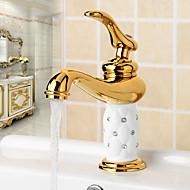 preiswerte -Moderne Modern Mittellage Verbreitete Keramisches Ventil Ein Loch Einhand Ein Loch Chrom , Waschbecken Wasserhahn
