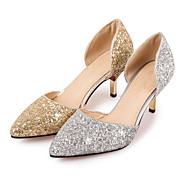 cheap Plus Size Shoes-Women's Shoes Glitter Spring Summer Heels Stiletto Heel Pointed Toe Sequin for Wedding Office & Career Party & Evening Gold Silver