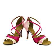 baratos Sapatilhas de Dança-Mulheres Latina Salsa Seda Cetim Sandália Salto Espetáculo Profissional Presilha Cadarço de Borracha Salto Personalizado Azul Rosa claro