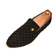 Men's Loafers & Slip-Ons Comfort PU Fall Winter Casual Lace-up Flat Heel Gold Black Blue Flat